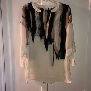 New York & Company Open-neck, Tie-sleeve Blouse
